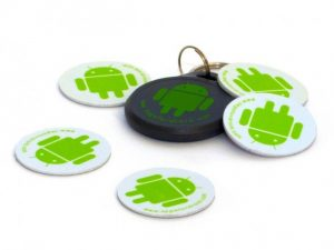 Android-branded NFC tags and key fob